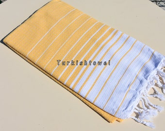 Turkishtowel-Hand woven,medium weight,very soft,HEART pattern,Bath,Beach,Travel,Wedding Towel-Yellow and White stripes