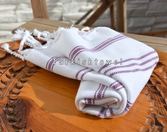 Turkishtowel-Soft-Hand woven,warp&weft cotton Hand,Tea,DishTowel-Twill pattern,Purple stripes on White