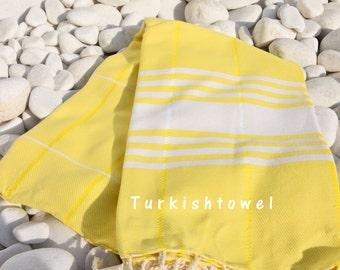 Turkishtowel-Soft-Hand woven,warp&weft cotton Bath,Beach,Travel,Light weight Towel-Point twill pattern,Natural cream stripes on neon yellow
