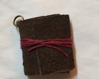 Tea Stained Leather Journal Necklace Pendant Torn Paper Covered In A Brown Leather With Red Tie Small Necklace Pendant. Hold Your Secretes