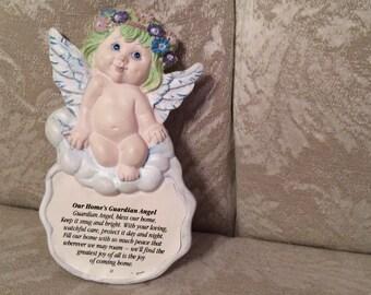 Our Homes Gardian Angel Bless This Home. Loving Art Home Plaque. My Gardian Angel. Protect Our Home. Family Art Sentimental Art Home Decor
