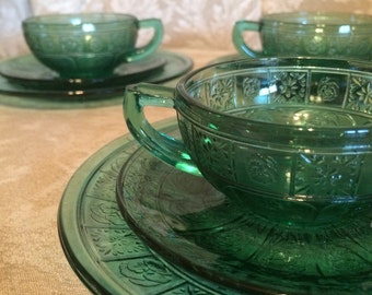 9 Piece Mini Green Glass Cups And Saucers Snack Plates Bread And Butter Plates Depression Glass Design. Retro Small Tea Party Serving