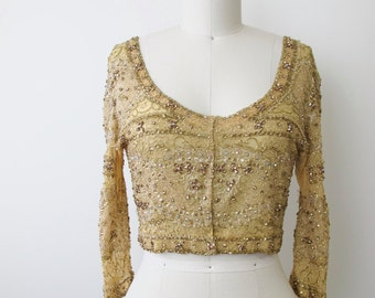 Vintage Gold Couture Beaded Silk Chiffon top