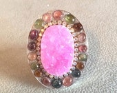 RESERVED FOR D Pink Druzy and Tourmaline sterling silver ring