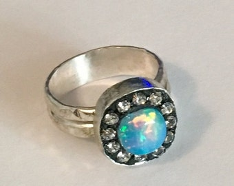 FALL SALE Gorgeous fire ethiopian opal sterling silver ring