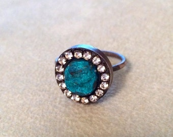 LOVE SALE Velvety malachite druzy Sterling silver ring