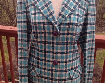 Vintage Pendleton wool blazer, blue plaid suit coat, 1960s dressy suit coat, fitted blazer, Christmas gift for her