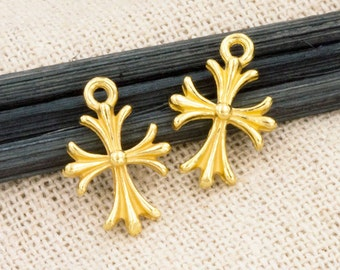2 of 925 Sterling Silver 24k Gold Vermeil Style Cross Charms 10x12 mm. :vm0740