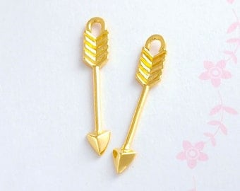 2 of 925 Sterling Silver 24k Gold Vermeil Style Arrow Charms  3x23 mm., delicate charms :vm0593