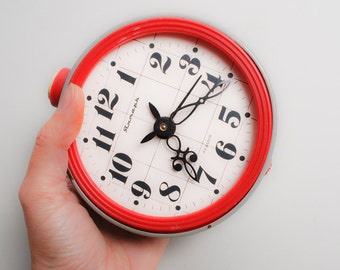 Vintage part of metal mechanical alarm clock Yantar from Soviet Russia, for details