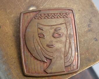 Vintage metal brooch, Woman face 1970-1980