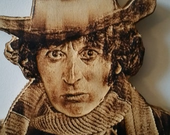 Doctor Who Tom Baker  Pyroportrait Carving