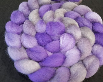BFL Roving - 4 oz - Violet, Lilac, Purple and Grey