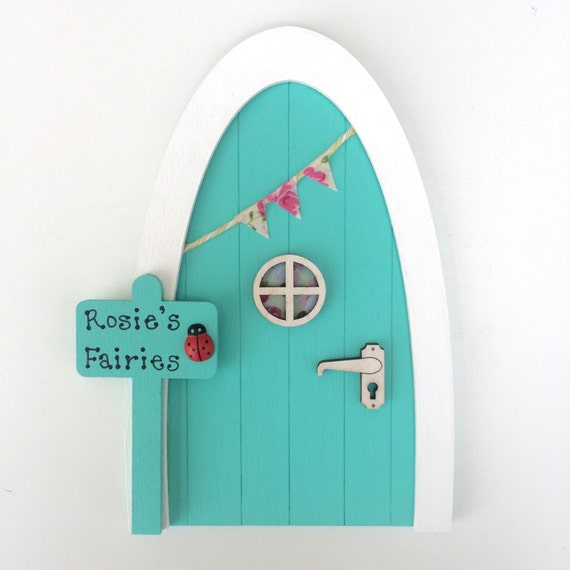 Personalised fairy door tinkerbell green magical miniature for Tinkerbell fairy door