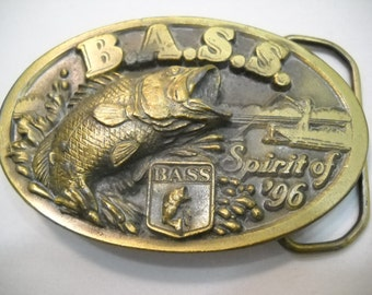 Vintage Bass Spirit Of '96 Belt Buckle Mens Belt Buckle Fishing Belt Buckle FREE SHIPPING