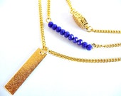 Three Layer Necklace, three Layered, necklace, layered necklace, Swarovski, cobalt necklace, blue necklace, gold, chain necklace, crystal