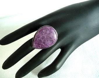 Boho Ring, Agate ring, Green ring, Deep purple, lavender, ring, big ring, big agate ring, teardrop ring, Gemstone ring, adjustable ring,