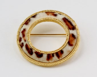 Vintage Signed BSK Goldtone Faux Leopard Fur Brown Spotted Print Pattern Gold Tone Round Brooch Circle Pin