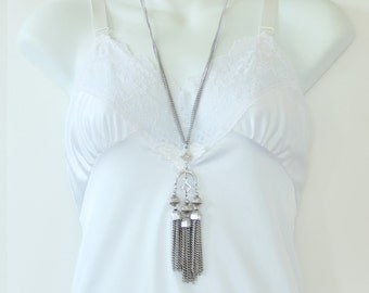 Vintage Silvertone Double Two Strand Curb Chain Silver Tone Geometric Diamond Shape Curved Arch Pendant Tassel Multistrand Necklace