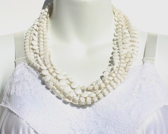 Vintage Multi Triple Four Strand White Opaque Multistrand Flapper Sautoir Rope Length Extra Long Plastic Round Square Cube Beaded Necklace