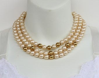 Vintage Signed Napier Multi Triple Three Strand Faux Glass Pearl Ivory Off White Goldtone Beaded Multistrand Necklace