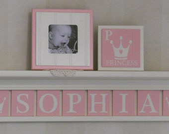 Princess Crown Wooden Wall Decor,  Royal Queen Crown Tiara Name Decor, Custom White Shelf with Light Pink Plaques