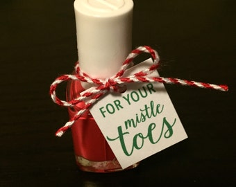For Your Mistletoes Tags for Nail Polish Bottles - Set of 6 - Green