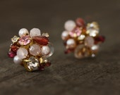Pink Rhinestone, Freshwater pearl, Rose Quartz, and Garnet Cluster Stud Earrings