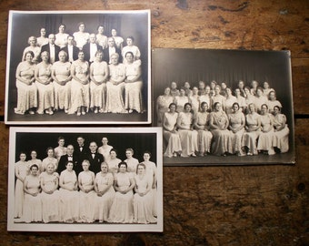 Vintage Set of Three Group Photos - Ladies and Gents in their Finery