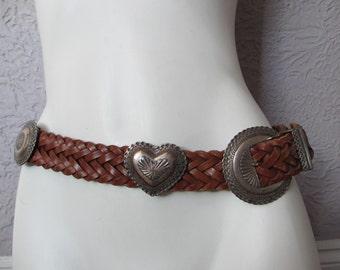 Vintage Brighton Heart Concho Western Leather Belt med/lg