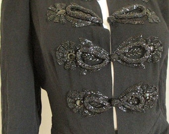 30's Vintage Black Rayon Crepe Beaded Gown Dress med