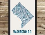 Washington D.C. Neighborhood Map Print, washington dc wall art, washington dc typography map, washington dc poster, washington dc gift