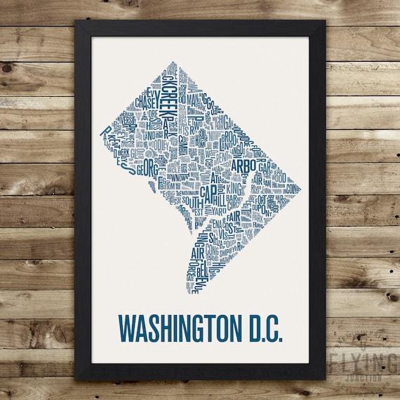 Washington DC Neighborhood Map Print washington dc