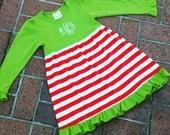 SALE - Monogrammed Christmas Ruffle Dress