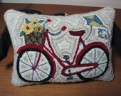 Primitive Red Bike with Flowers & Kite Punch Needle Pin Keep, Bicycle