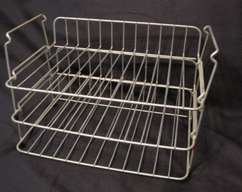 3 Vintage Heavy Metal Wire Stacking Baskets, Paper Tray, In / Out Basket, Retro Office, Storage, Industrial, Craft Storage