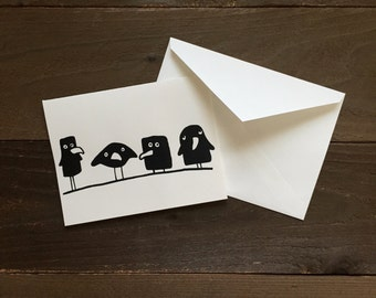 four funny ravens greeting card