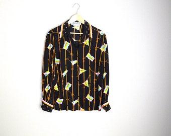 vintage silk flag nautical black long sleeve blouse -- womens medium
