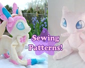 Instant Download Mew and Sylveon Plushie Sewing Pattern