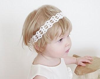 Crochet Newborn Headband, Baby Headband, Christening Headband, Baptism Headband, Flower Girls Headband, Boho Wedding Crochet Headband