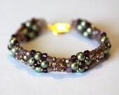 Beadweaving Bracelet, Swarovski Pearls, Glass Crystal cuff, Amy Johnson Designs BV2141
