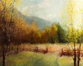 "Original oil painting, ""The Next Stage of Your Journey"", aspen autumn impressionism landscape"