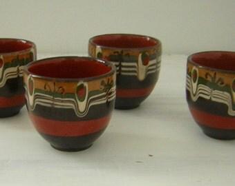 Set of 4 Vintage Handmade Pottery Egg/shot cups