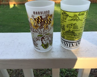 Vintage Maryland or Pennsylvania Drinking Glass FROSTED Glass ONE Glass your Choice Vintage 50s Select Maryland or Pennsylvania