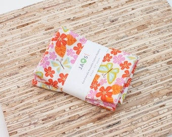 Small Cloth Napkins - Set of 4 - (N2637s) - Orange Pink Tangerine Flower Butterfly Modern Reusable Fabric Napkins