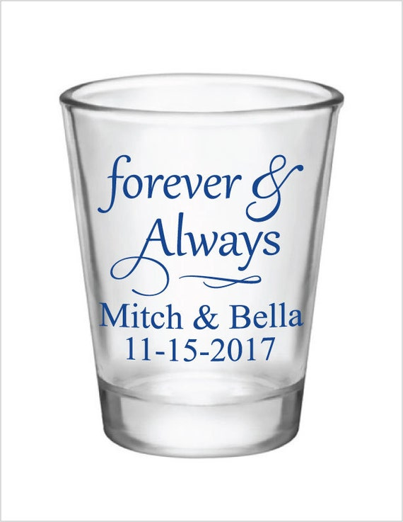 wedding favors shot glasses glass shot glasses forever and