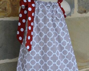 Gray Quatrefoil and Crimson Polka Dot Pillowcase Dress
