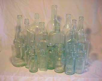 c1870-1920 Group of 25 Cork Top Mixed Aqua Glass Medicine, Food and Beverage Bottles Great for Wedding Decor Lot No. 4