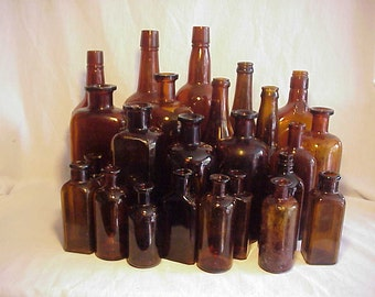 c1890-1950 Group of 24 Cork Top Mixed Amber Glass Medicine & Beverage Bottles, Great for WEDDING Decor No. 1