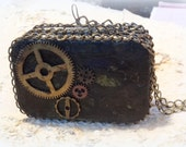 Reserved for Michele ,Metal Purse, 2 compartment, credit card case, Altered Tin Box, Steam Punk, Steampunk,  Costume Accessory, Change Purse